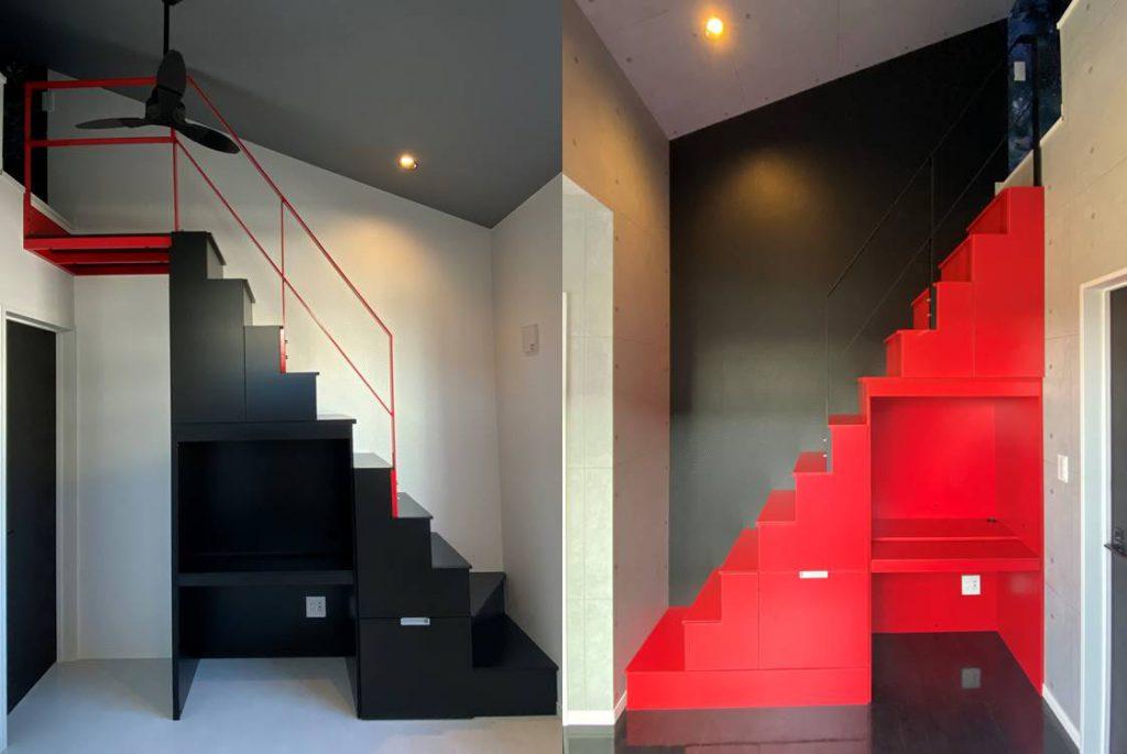 ブラックとレッドのロフト階段